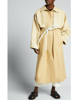 Cape and Drawstring Long Trench Coat