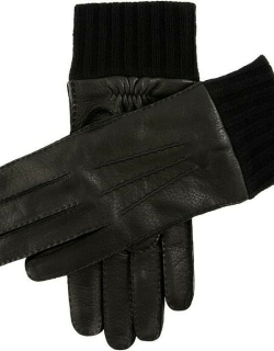 Dents Men's Handsewn Cashmere Lined Deerskin Leather Gloves With Knitted Cashmere Cuffs In Black/black