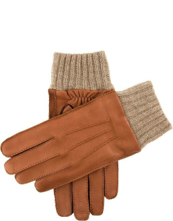 Dents Men's Handsewn Cashmere Lined Deerskin Leather Gloves With Knitted Cashmere Cuffs In Havana/beige