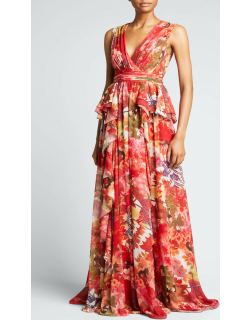 Floral Georgette Cascading Ruffle Gown