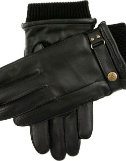Dents Men's Warm Lined Leather Gloves With Knitted Cuffs In Black