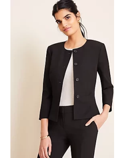Ann Taylor The Pleated Crewneck Jacket in Seasonless Stretch