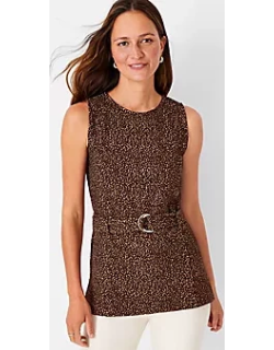 Ann Taylor Animal Jacquard Belted Shell Top