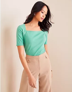Ann Taylor Petite Square Neck Luxe Tee