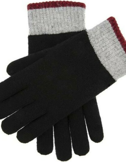 Dents Men's Contrast Cuff Knitted Gloves In Black