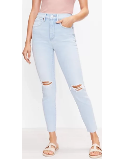 Loft The Destructed High Waist Skinny Ankle Jean in Bleach Out Wash