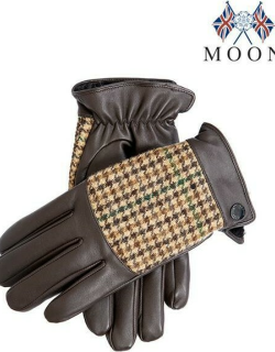 Dents Men's Faux Fur Lined Abraham Moon Dogtooth & Leather Gloves In Brown/brown