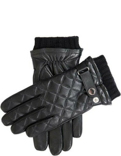Dents Men's Wool Lined Quilted Leather Gloves In Black/black