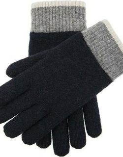 Dents Men's Contrast Cuff Knitted Gloves In Navy