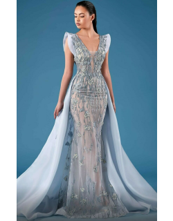 MNM Couture Cap Sleeve Embellished Gown with Train