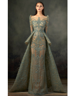 MNM Couture Long Sleeve Peplum Embroidered Gown