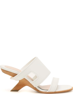 ALEXANDER MCQUEEN LEATHER MULES 40 White Leather