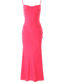 IN THE MOOD FOR LOVE LONG SATIN DRESS M Fuchsia