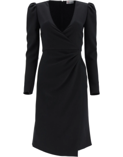 RED VALENTINO CREPE DOUBLE STRETCH DRESS 44 Black