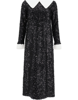 IN THE MOOD FOR LOVE SEQUINED MIDI DRESS M Black, White