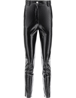 MSGM OSTRICH-EFFECT FAUX LEATHER TROUSERS 42 Black Faux leather