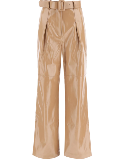 SELF PORTRAIT FAUX LEATHER TROUSERS 8 Brown, Beige Faux leather