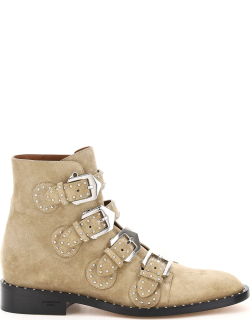 GIVENCHY ELEGANT STUDDED SUEDE ANKLE BOOTS 36 Beige Leather