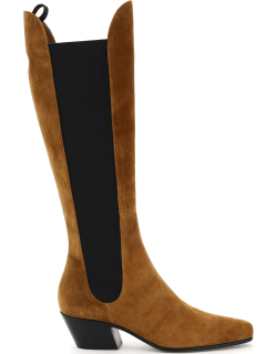 KHAITE CHESTER KNEE HIGH SUEDE CHELSEA BOOTS 36 Brown, Beige, Black Leather