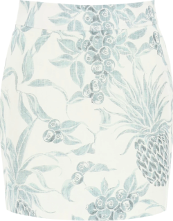 SEE BY CHLOE MINI SKIRT WITH SPRING FRUITS PRINT 38 White, Grey, Blue Linen
