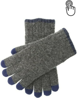 Dents Men'S Touchscreen Knitted Gloves In Charcoal/navy