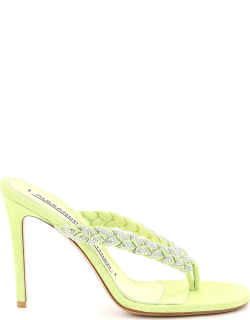 ALEXANDRE VAUTHIER JOJO THONG MULES WITH CRYSTALS 39 Green, Yellow Leather