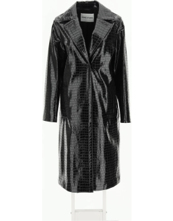 STAND EMERSON COAT IN FAUX LEATHER 38 Black Faux leather