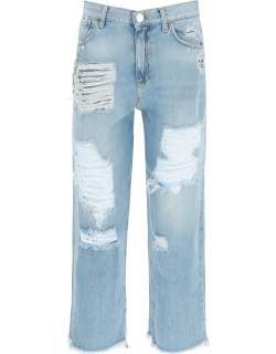 PINKO MADDIE MOM-FIT JEANS WITH CRYSTALS 30 Light blue Cotton, Denim