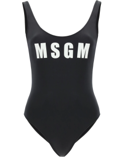 MSGM ONE-PIECE SWIMSUIT WITH LOGO S Black, White