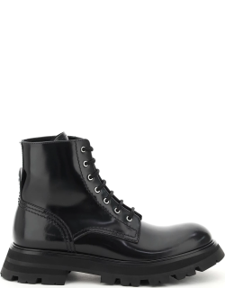 ALEXANDER MCQUEEN WANDER LEATHER BOOTS 38 Black Leather