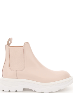 ALEXANDER MCQUEEN CHELSEA TREAD BOOTS 38 Pink, White Leather