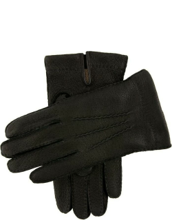 Dents Men's Handsewn Cashmere Lined Peccary Leather Gloves In Black