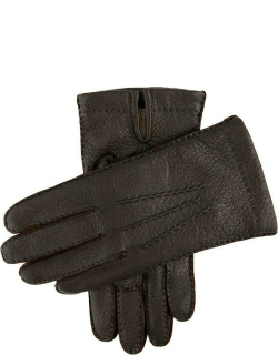 Dents Men's Handsewn Cashmere Lined Peccary Leather Gloves In Bark