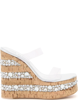HAUS OF HONEY CROCO CRYSTAL TWO-STRAP MULES 40 Silver