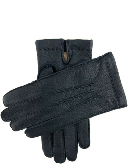 Dents Men's Handsewn Cashmere Lined Peccary Leather Gloves In Navy