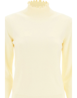 SEE BY CHLOE RUCHED NECK SWEATER M White Cotton