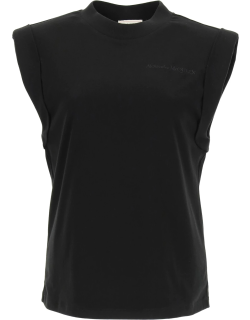 ALEXANDER MCQUEEN T-SHIRT WITH LOGO EMBROIDERY 42 Black Cotton