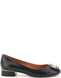 TORY BURCH LEATHER BALLET FLATS WITH LOGO 8 Black Leather