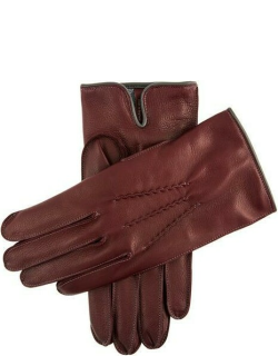 Dents Men's Cashmere Lined Leather Gloves With Contrasting Detail In Claret/grey/grey/pewter