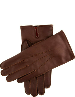 Dents Men's Cashmere Lined Leather Gloves With Contrasting Detail In Eng Tan/tangerine (Tangerine)