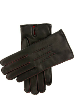 Dents Men's Cashmere Lined Leather Gloves With Contrasting Detail In Black/red (Red)