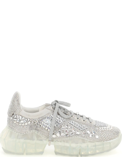 JIMMY CHOO DIAMOND F SNEAKERS WITH CRYSTALS 38 Silver
