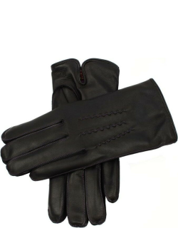 Dents Men's Cashmere Lined Leather Gloves With Contrasting Detail In Black/purple (Purple Lining)