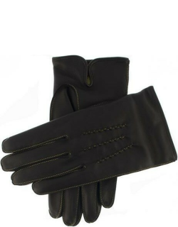 Dents Men's Cashmere Lined Leather Gloves With Contrasting Detail In Black/yellow (Yellow)