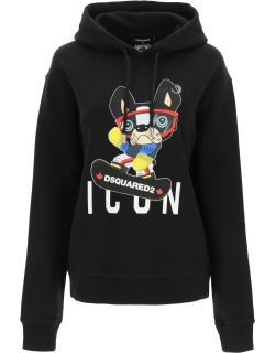 DSQUARED2 HOODIE WITH PRINT M Black Cotton