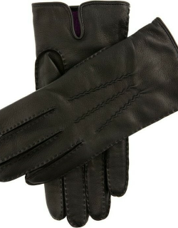 Dents Men's Handsewn Cashmere Lined Leather Gloves In Black (Purple)