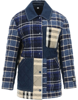 BURBERRY QUILTED JACKET L Blue Cotton