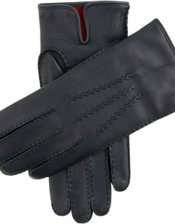 Dents Men's Handsewn Cashmere Lined Leather Gloves In Navy (Red)