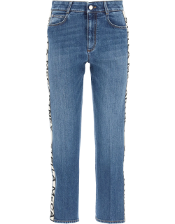 STELLA McCARTNEY RISE CROPPED JEANS WITH MONOGRAM BANDS 27 Blue Cotton, Denim