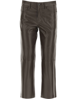 DROME CROPPED FIVE POCKET TROUSERS XS Brown Leather